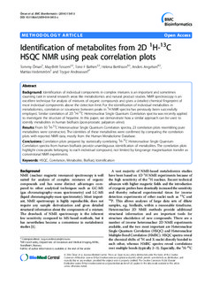Identification of Metabolites from 2D 1H-13C HSQC NMR using