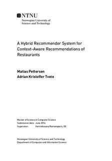 A Hybrid Recommender System for Context-Aware