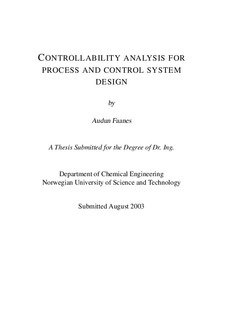Controllability analysis for process and control system design