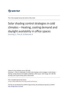 Solar shading control strategies in cold climates - Heating, cooling