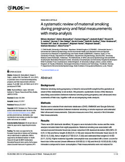 53032a10106e9 A systematic review of maternal smoking during pregnancy and fetal  measurements with meta-analysis