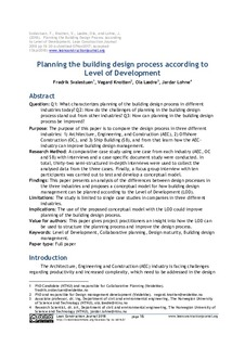 Planning the building design process according to Level of