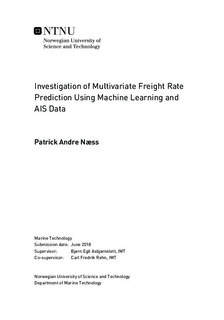 Investigation of Multivariate Freight Rate Prediction Using Machine