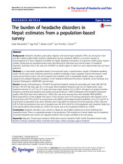The burden of headache disorders in Nepal: estimates from a