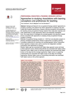 Approaches to studying – associations with learning